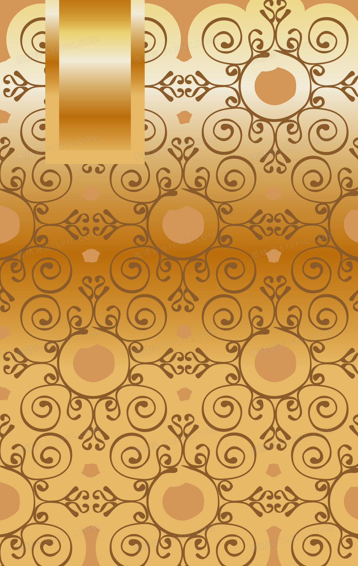 欧式复古金色质感植物花纹封面海报背景