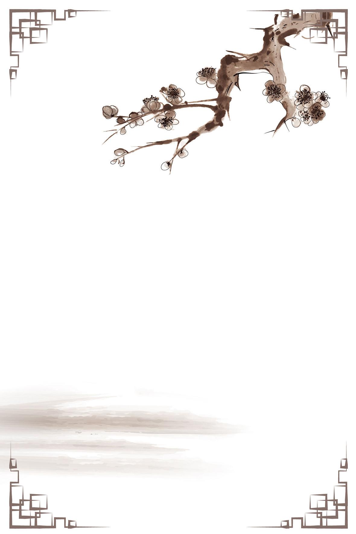 矢量古典中国风水墨花草背景