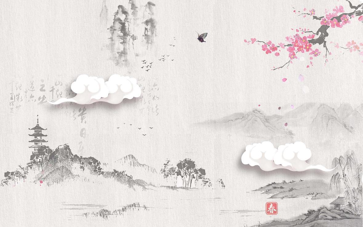 中式国画水墨风山水海报背景模板