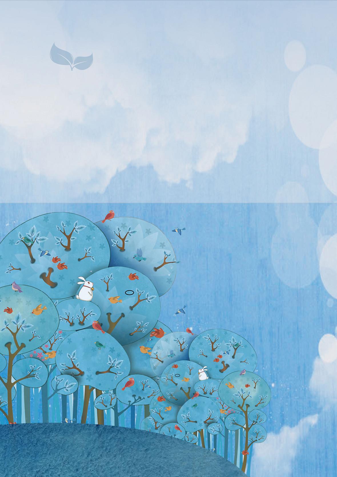 小清新手绘插画展板背景