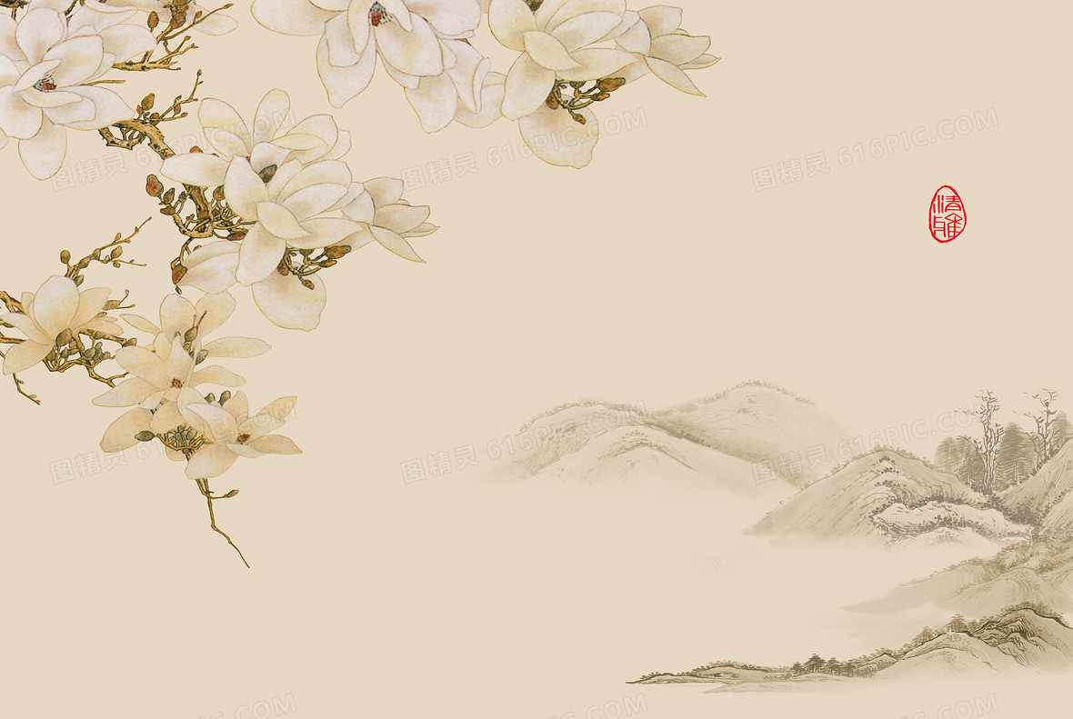 中式古风水墨山水木兰壁纸背景素材