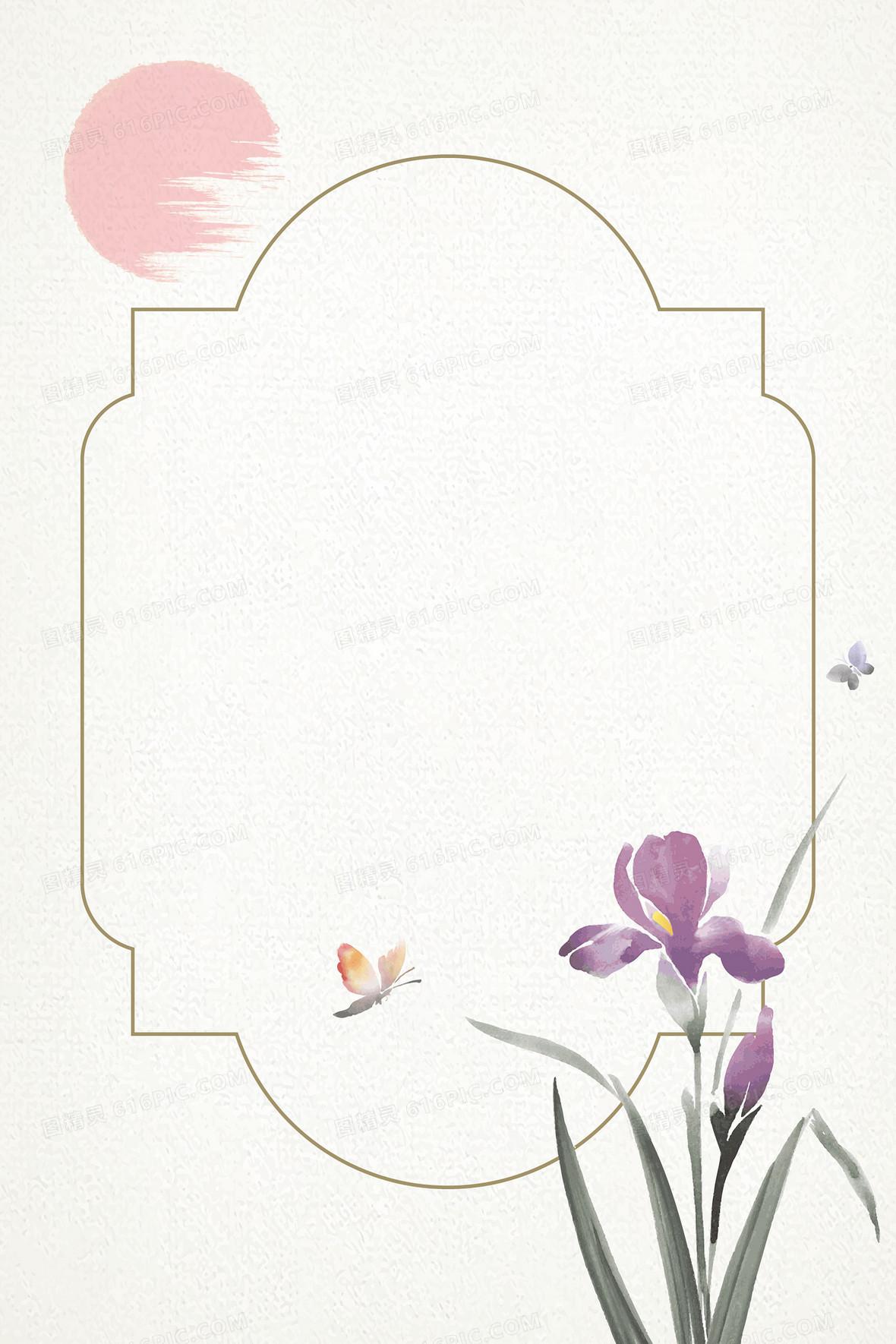 矢量文艺古风边框花卉背景