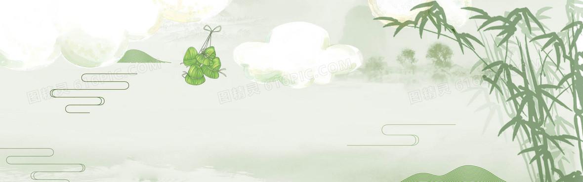 端午节中国风手绘小清绿色banner背景背景图片下载