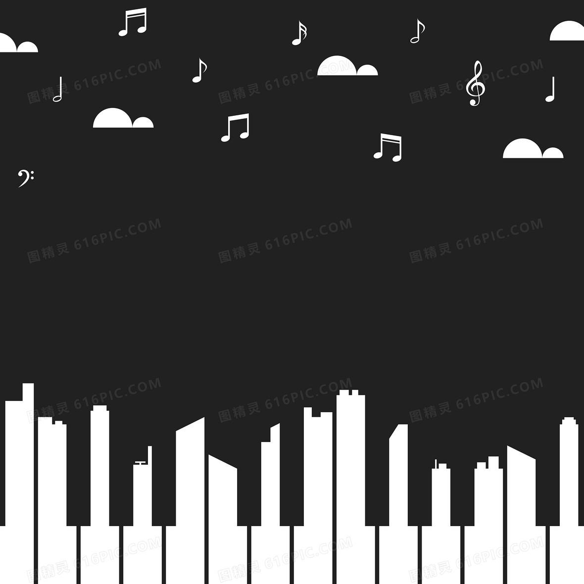 卡通黑白抽象钢琴键城市音乐会背景素材