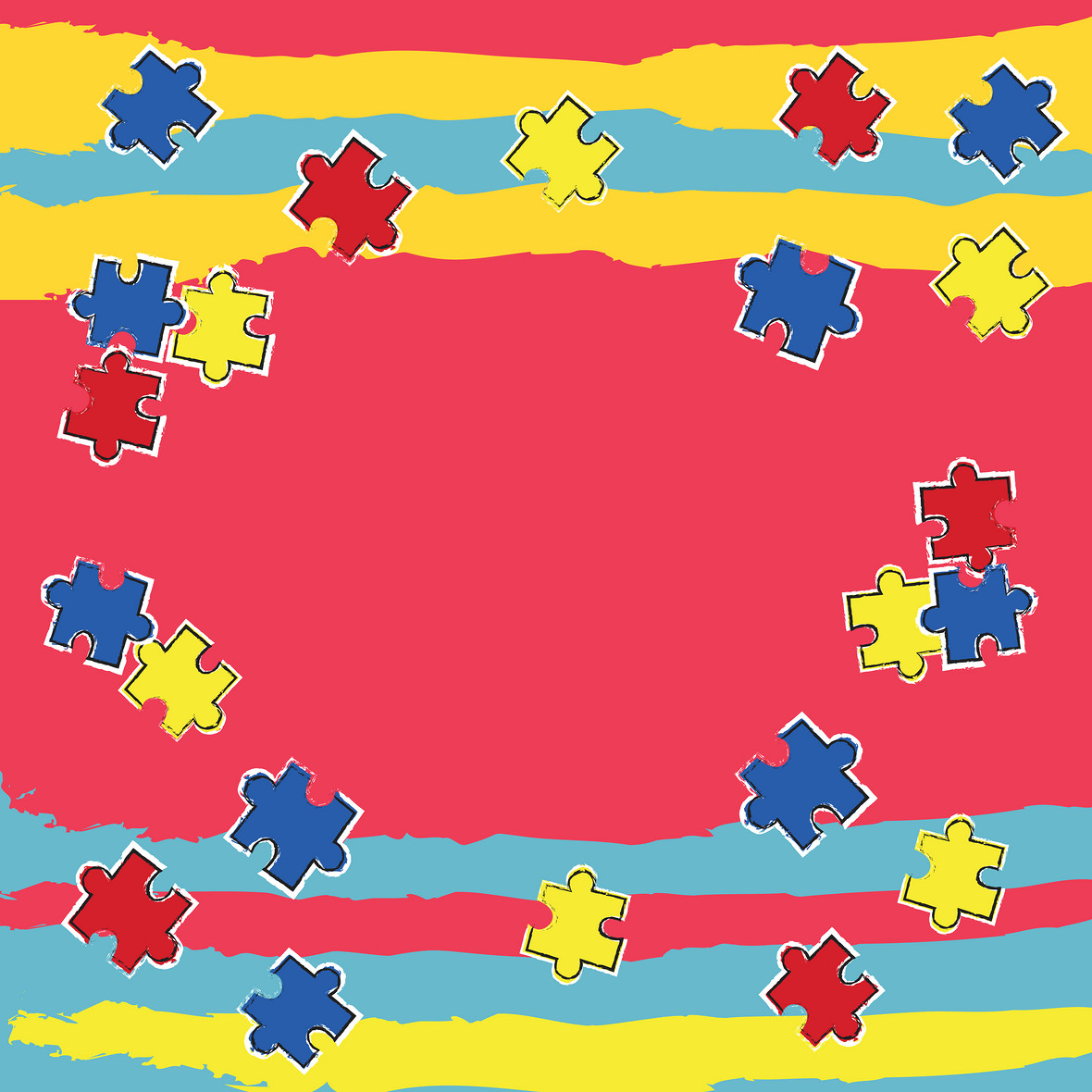 卡通手绘拼图童趣六一儿童节背景素材