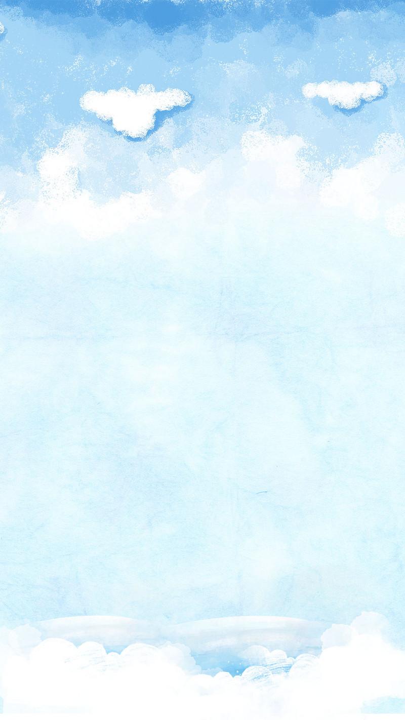 清新蓝色天空h5背景psd分层素材