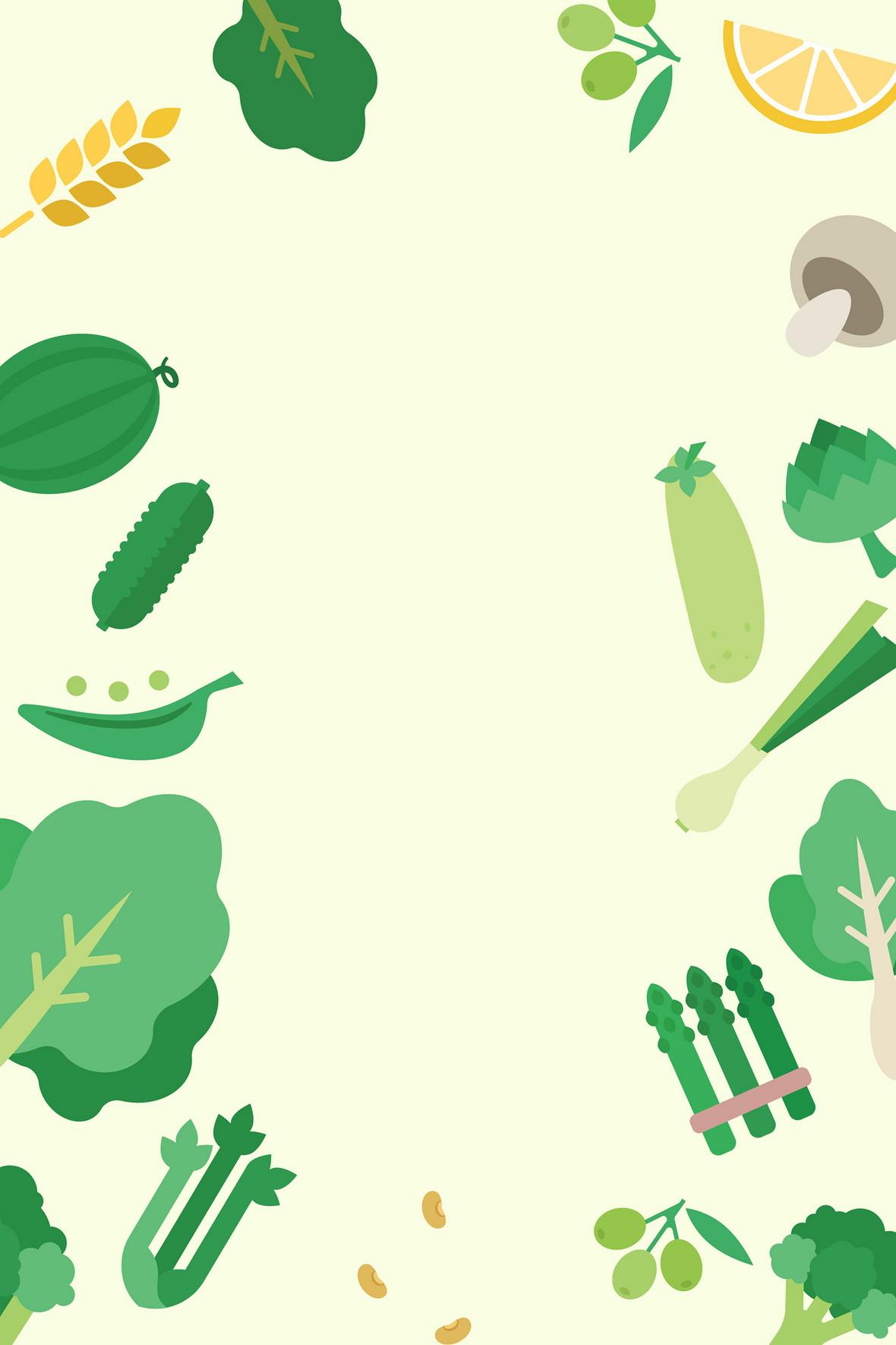 矢量手绘美食餐饮蔬果背景