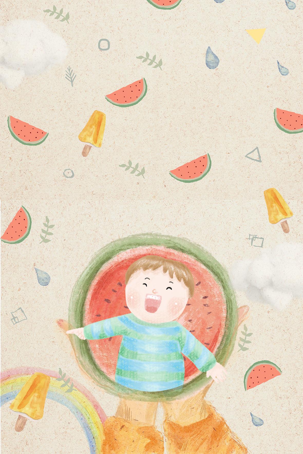 六一儿童节手绘西瓜海报背景