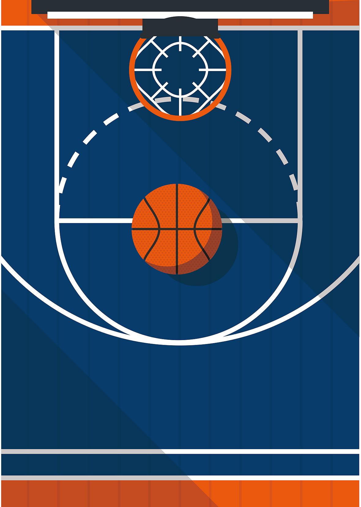 手绘卡通篮球球赛篮球场海报背景素材