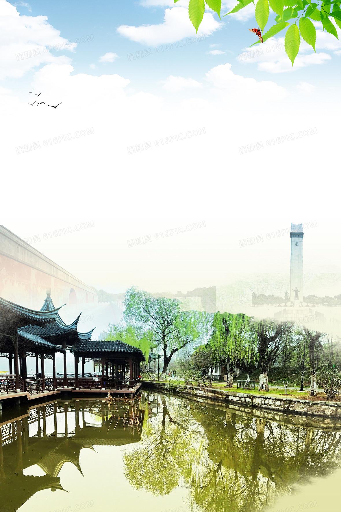 鄭州城市旅游印象海報背景