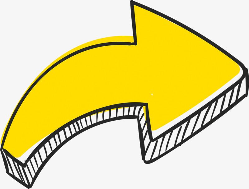 手绘黄色动感箭头图片免费下载_高清png素材_图精灵