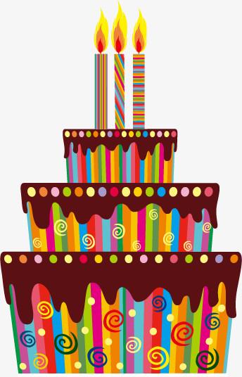 卡通炫彩生日蛋糕