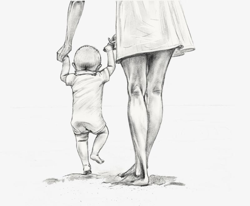 手绘素描母亲牵着孩子走路图片免费下载_高清png素材