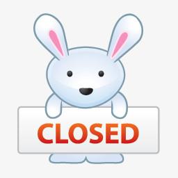 小白兔closed停止营业图标图片免费下载 Png素材 编号13gie3p0w 图精灵