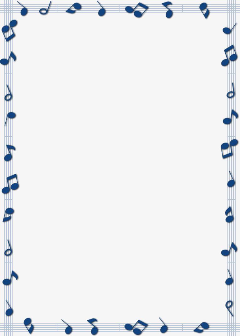 蓝色音乐符号五线谱边框图片免费下载_高清png素材_图