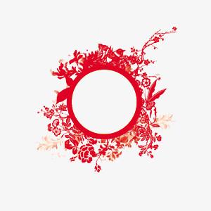 红色中国风镂空剪纸边框素材