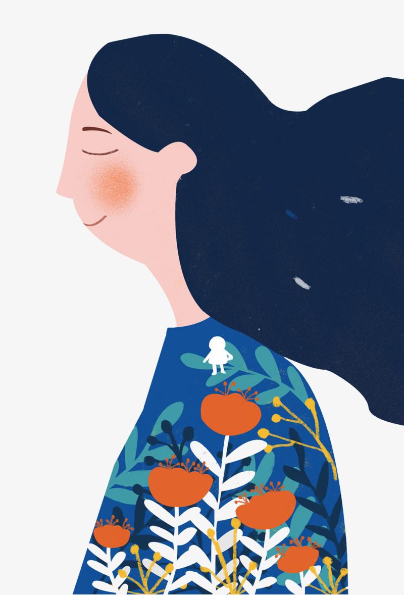 手绘人物插画母亲节妈妈插图图片免费下载_高清png_图