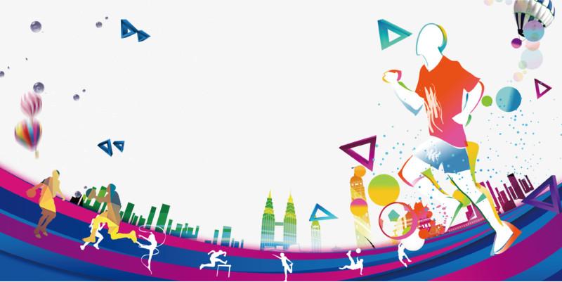 彩色校园运动会海报背景
