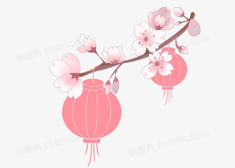 樱花春天粉色灯笼