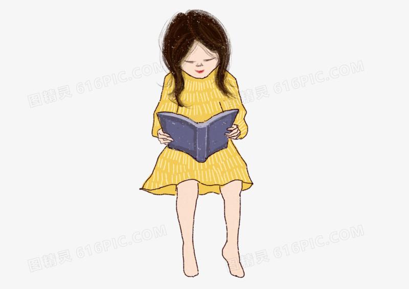 手绘插画读书日爱看书的小女孩