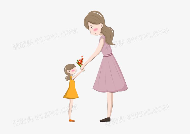 母亲节之女儿给母亲送花
