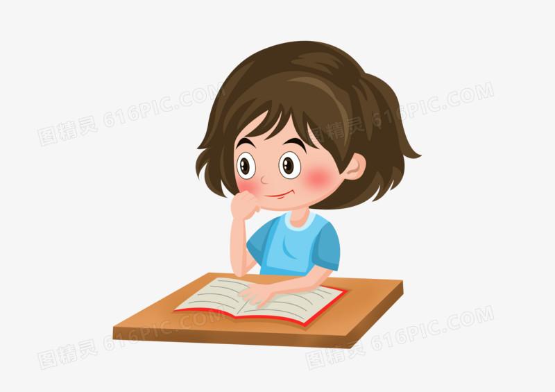 儿童节之手绘卡通看书的小女孩