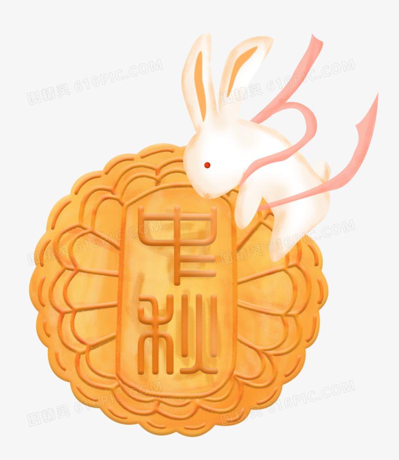 中秋节之手绘卡通传统美食月饼和可爱兔子