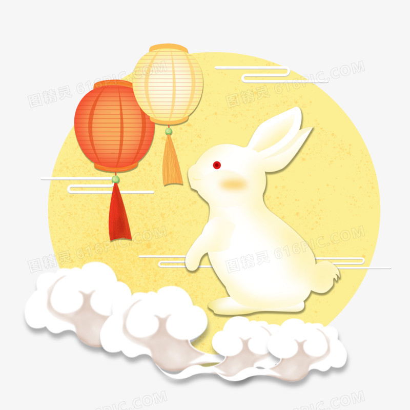 中秋节之手绘卡通月圆灯笼兔子场景图