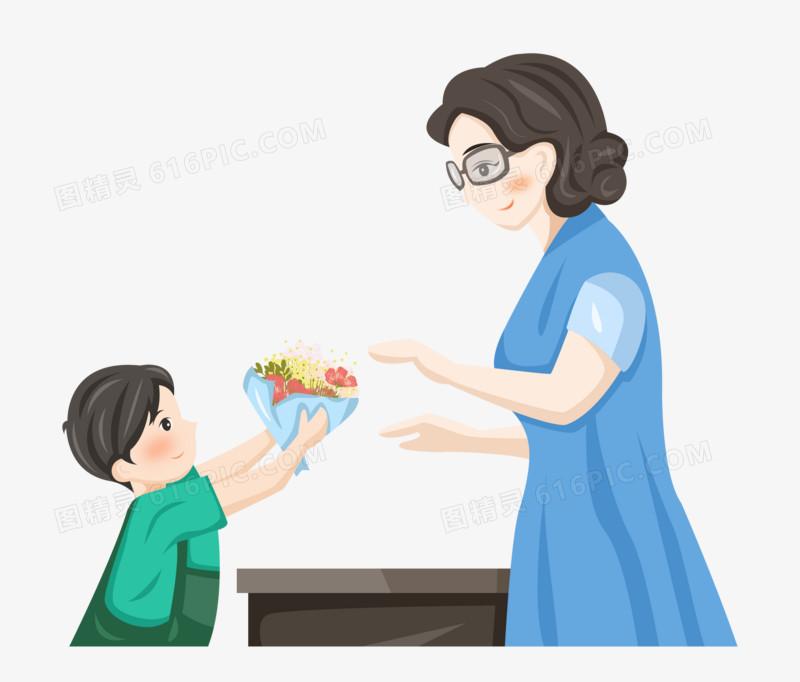 教师节之手绘卡通学生在课堂在给老师送花