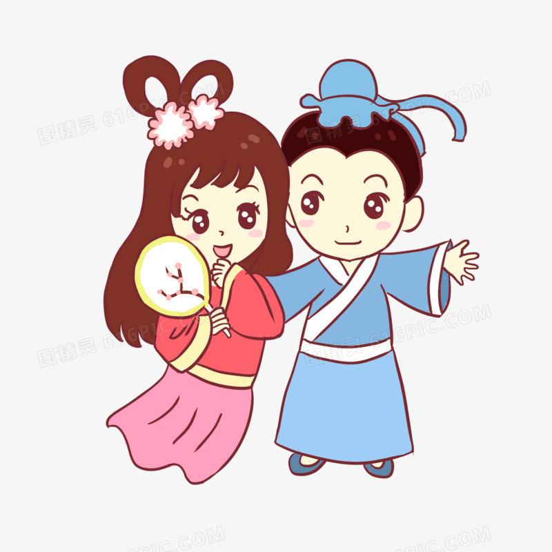 七夕牛郎织女节日手绘卡通元素
