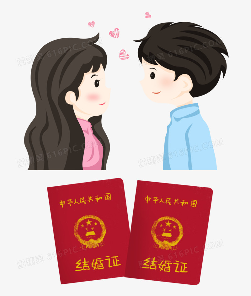 七夕情人节之手绘卡通面对面的领结婚的情侣