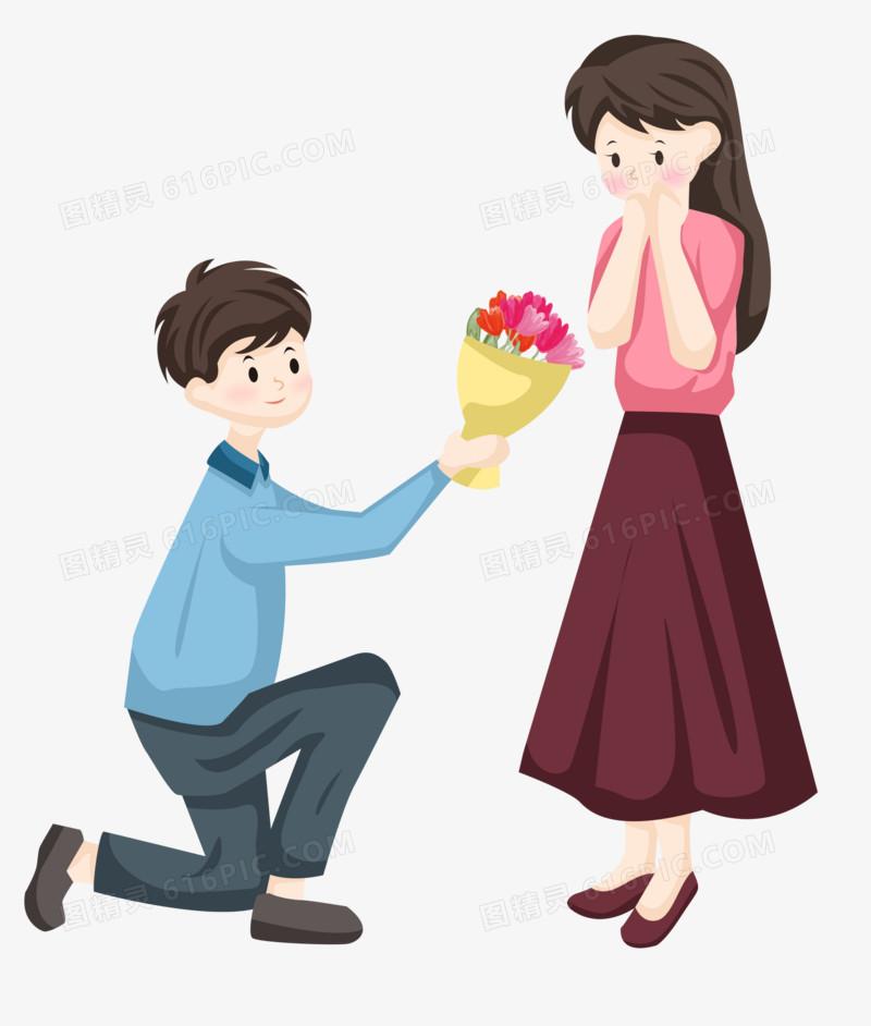 七夕节之手绘卡通给女朋友送花