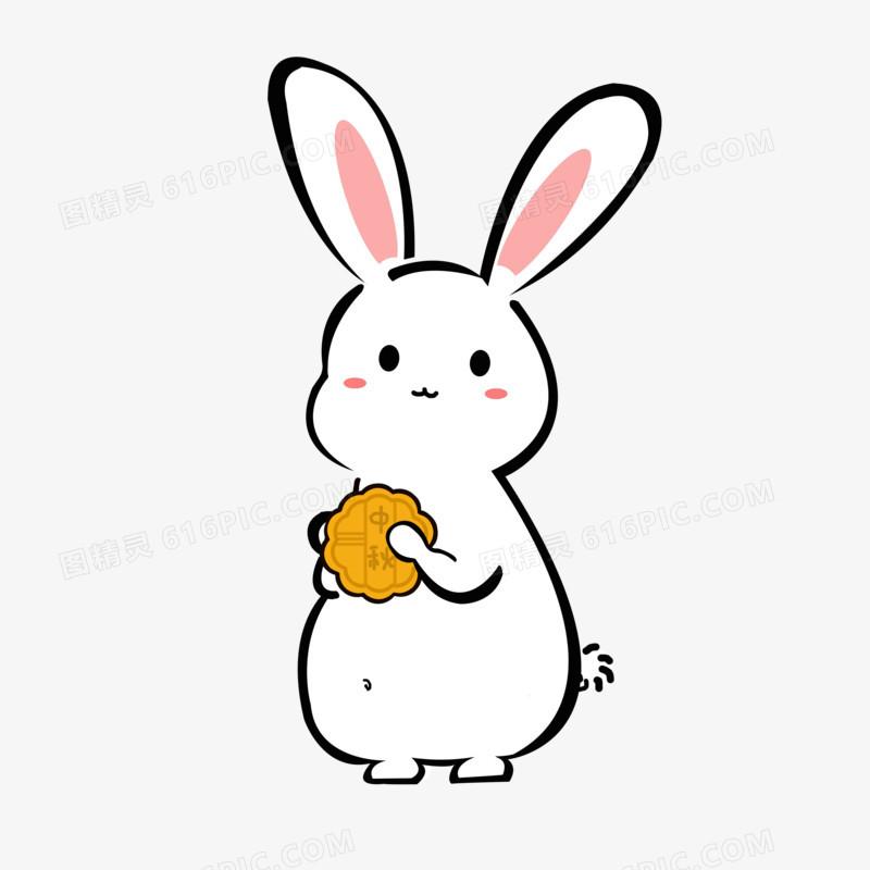 中秋节可爱卡通兔子月饼