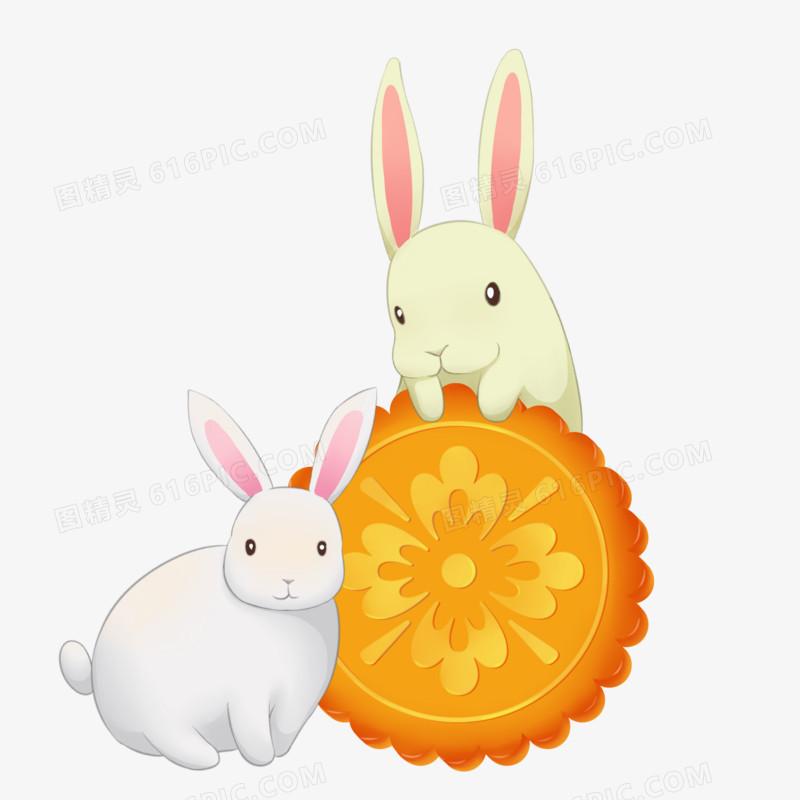 中秋节两只兔子吃月饼
