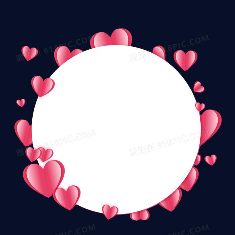 红色爱心圆形剪纸边框手绘设计