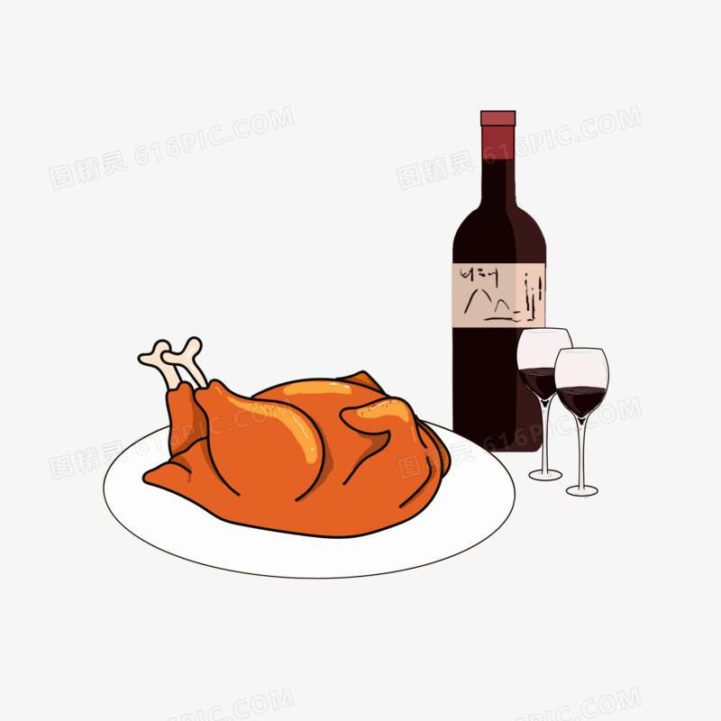 感恩节红酒火鸡手绘