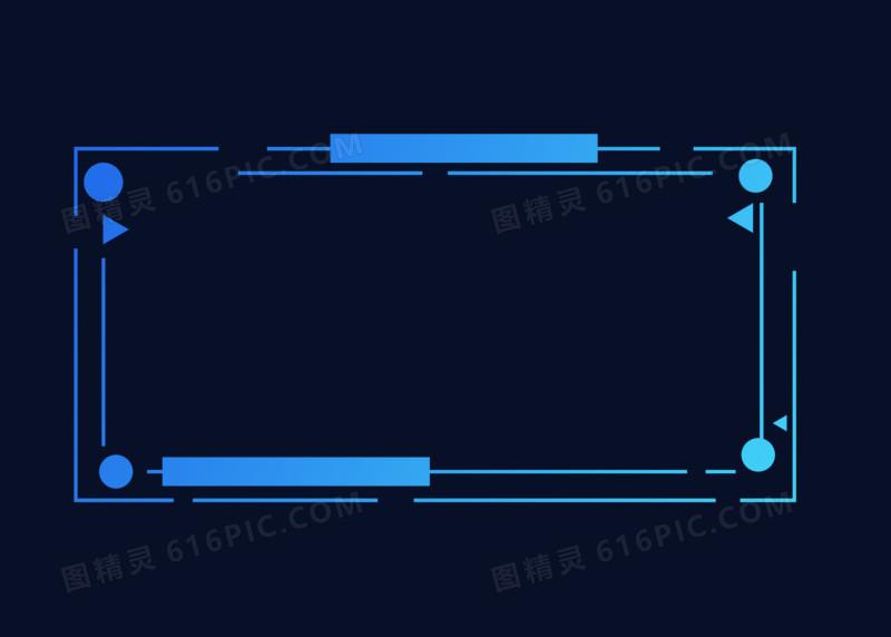 炫酷线条方形科技边框手绘设计