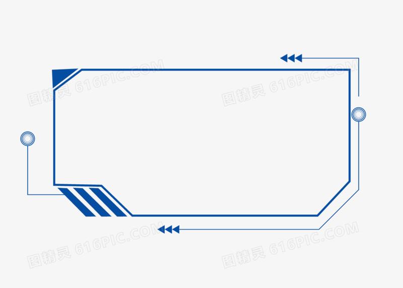 方形蓝色科技炫酷边框手绘设计