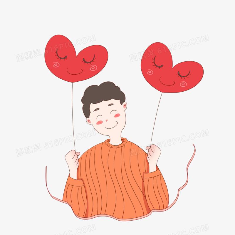 手绘感恩节主题之手拿爱心气球的小男孩