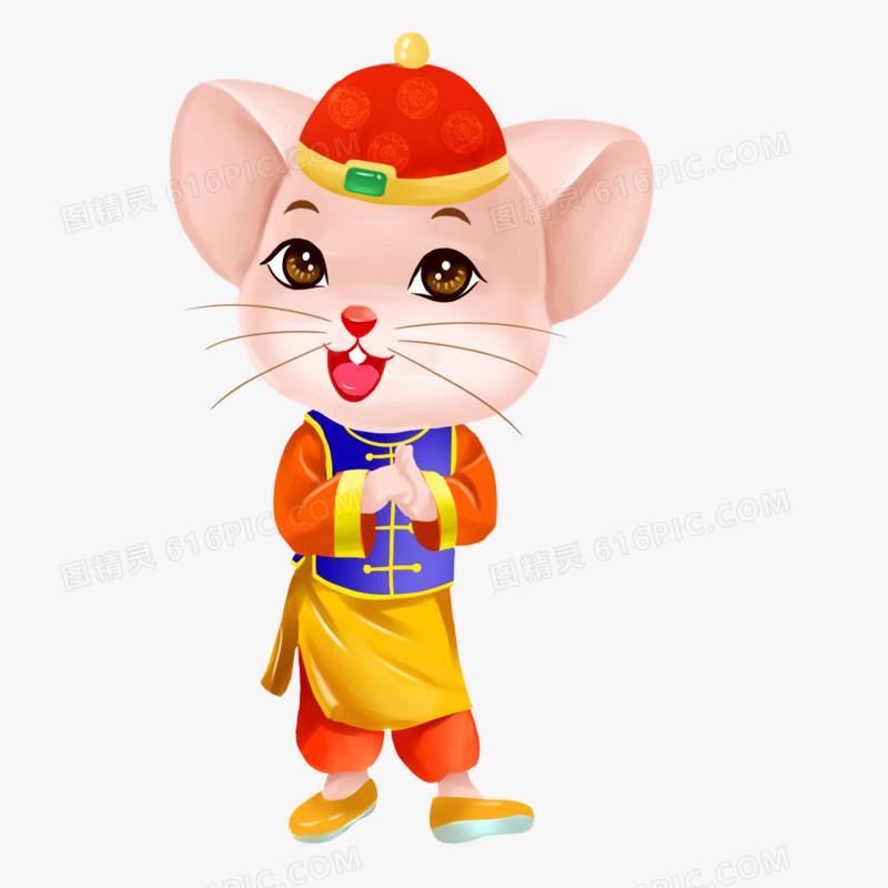 鼠年卡通手绘角色祝福素材