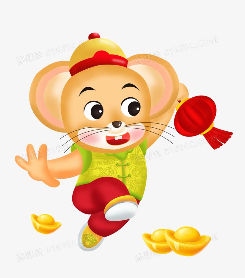 鼠年之手绘卡通鼠宝宝送灯笼