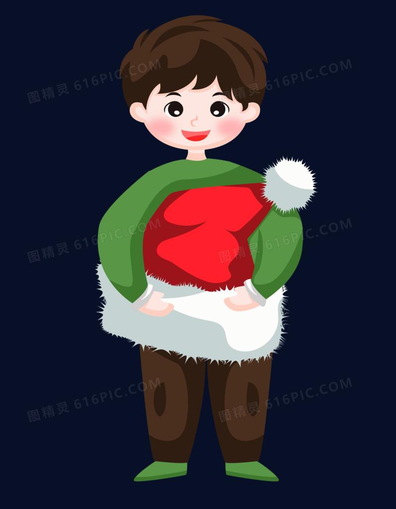圣诞节之手绘卡通男孩拿着圣诞帽子玩耍