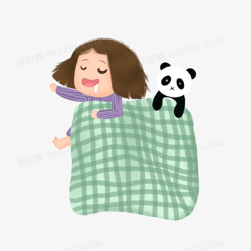 手绘小女孩和玩偶睡觉元素