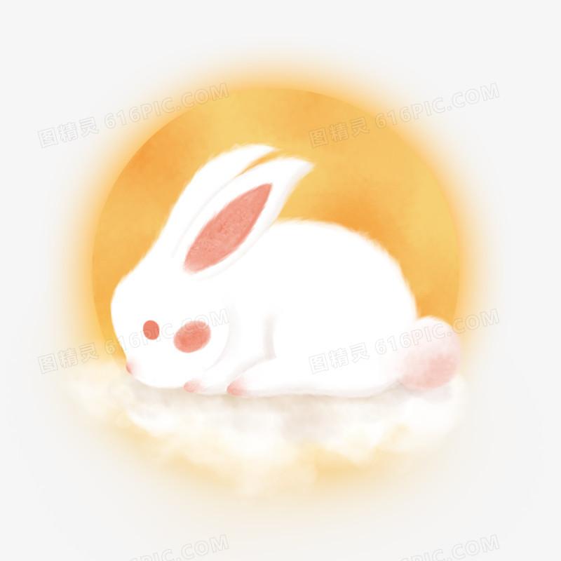 中秋手绘玉兔元素