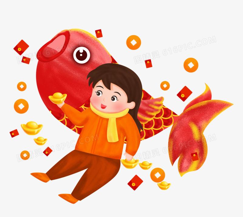 春节之手绘女孩拿着金元宝与锦鲤