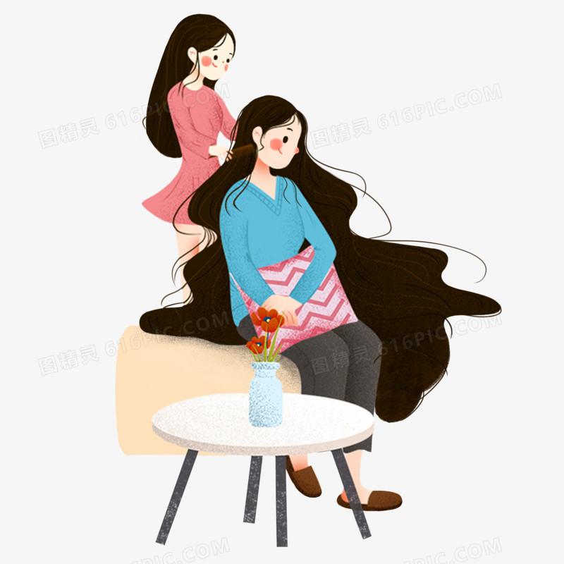 感恩节帮妈妈梳头卡通手绘元素