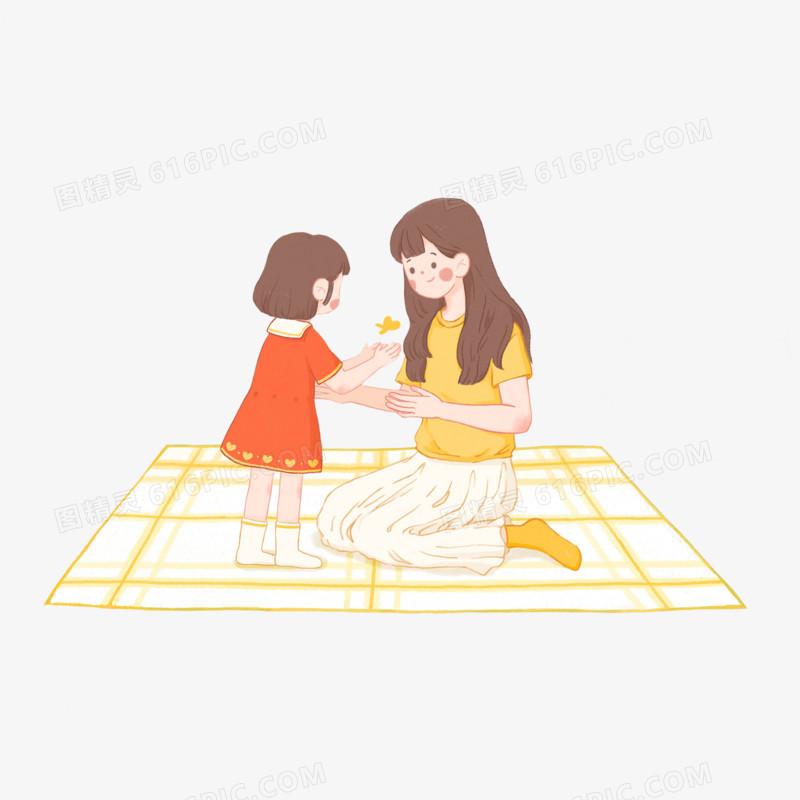 卡通手绘给妈妈送花的女孩