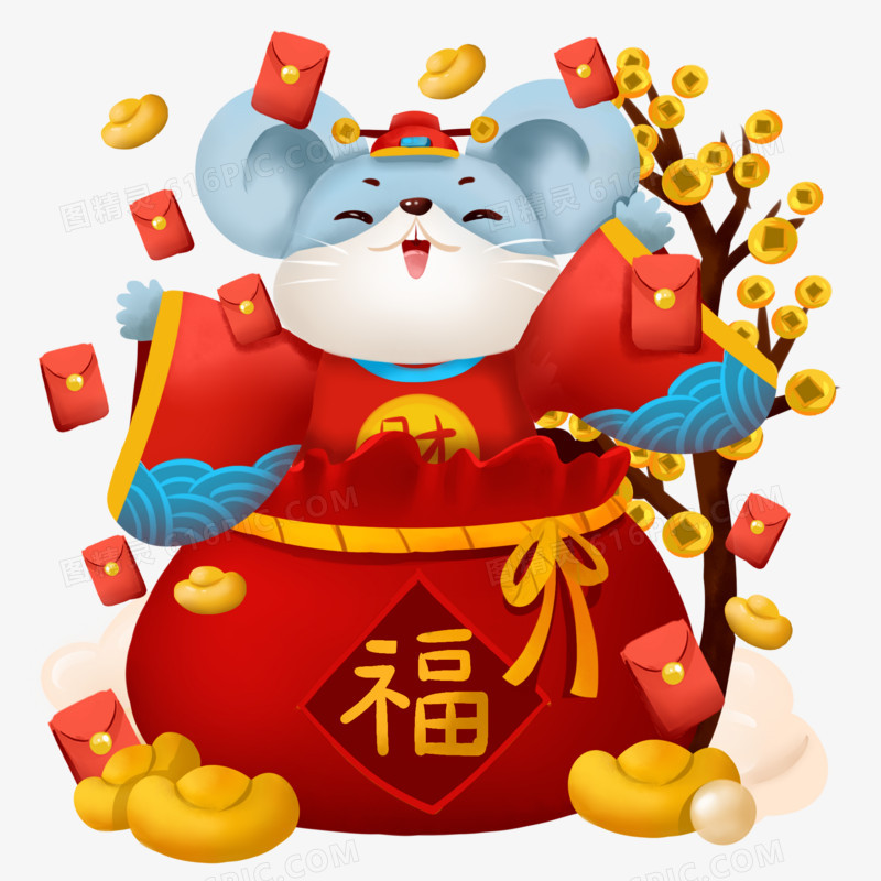 2020鼠年插画风老鼠福袋财神喜庆素材