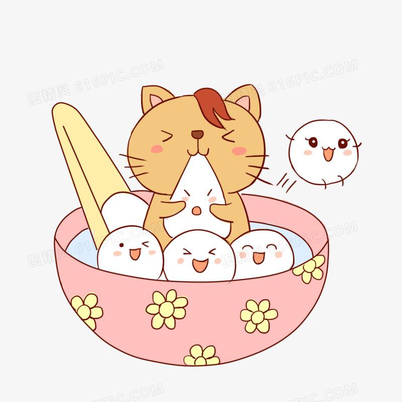 元宵节吃汤圆习俗猫手绘卡通元素