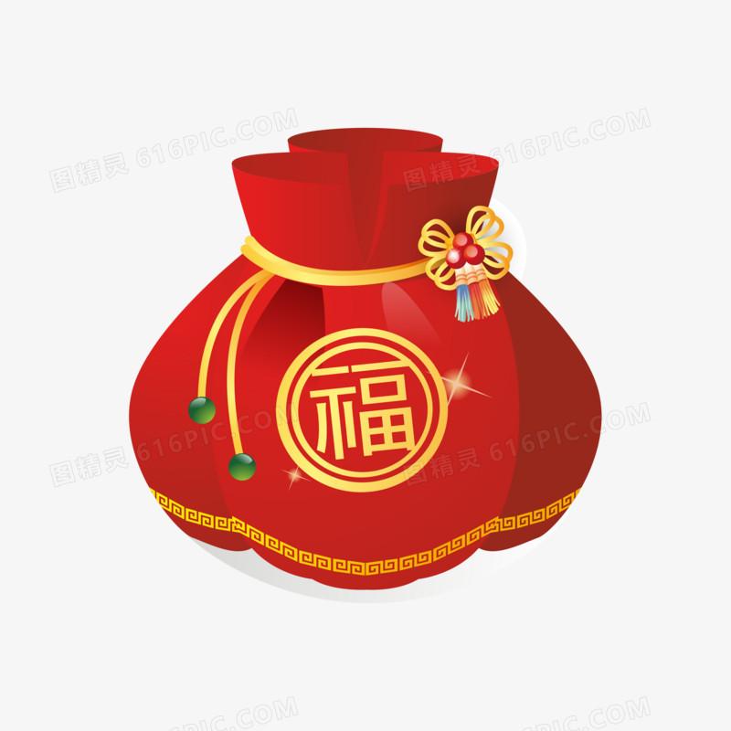 手绘矢量新年红色福袋